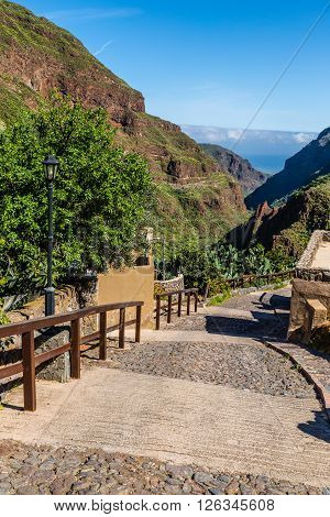 Stairs In Barranco de Guayadeque During Sunny Day - Gran Canaria Canary Island Spain Europe