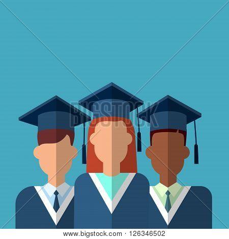 Student Group Graduation Gown Cap Flat Vector Illustration