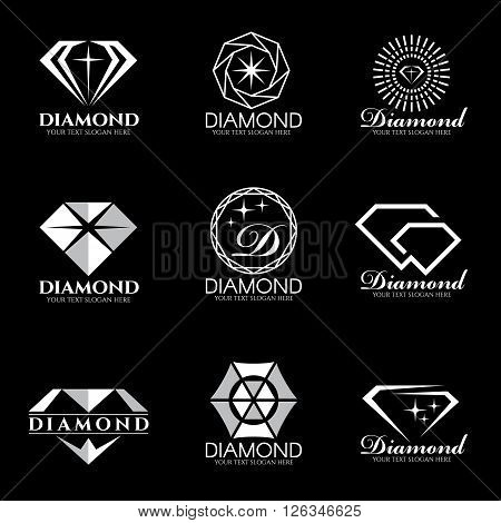 Diamond logo vector set and isolate on black background