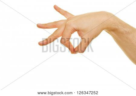 Side view of hand holding an invisible object