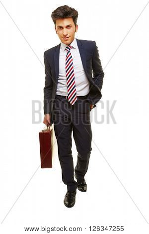 Business man walking with briefcase and a hand in his pocket