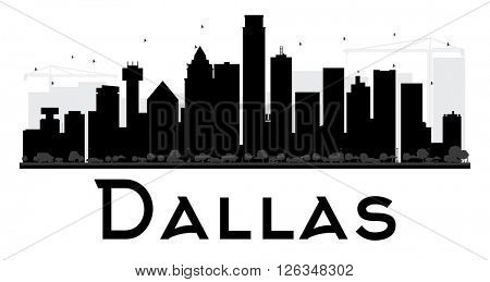 Dallas City skyline black and white silhouette. Vector illustration. Simple flat concept for tourism presentation, banner, placard or web site. Business travel concept. Cityscape with landmarks