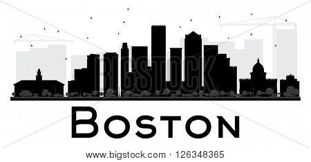 Boston City skyline black and white silhouette. Vector illustration. Simple flat concept for tourism presentation, banner, placard or web site. Business travel concept. Cityscape with landmarks