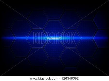 Abstract hexagon with dot pattern on blue background