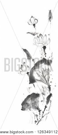 Lotus scroll Japanese style original sumi-e ink painting. Great for greeting cards or texture design.
