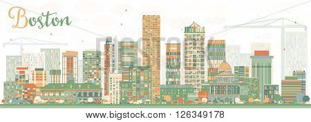 Abstract Boston Skyline with Color Buildings. Vector Illustration. Business Travel and Tourism Concept with Modern Buildings. Image for Presentation Banner Placard and Web Site.