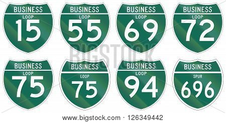 Collection Of Interstate Business Loop And Business Spur Shields Used In The Us