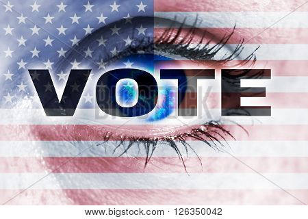 Vote With Usa Flag And Eye Looks At Viewer Concept