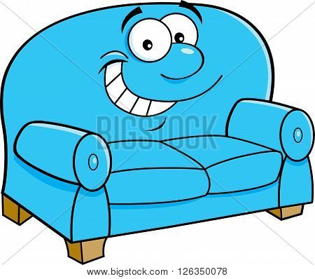 Cartoon illustration of a happy smiling couch.