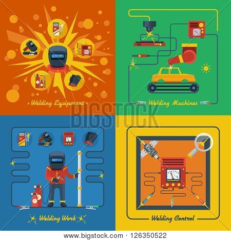 Welding 2x2 design concept set of welder equipment welding machines measuring and control instrument isolated vector illustration