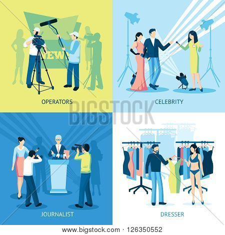 Pressman and journalist concept icon set  interview dresser operator vector illustration