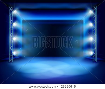 Empty stage with spotlights. Vector illustration.