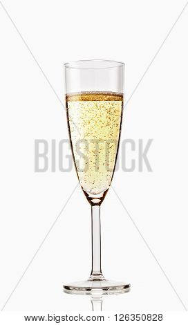 Glass Of Sparkling Champagne Isolated On White