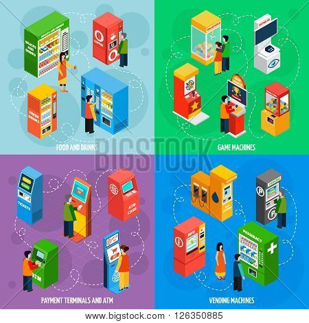 Food and drinks vending machines with payment terminals automated self service 4 isometric icons square isolated vector illustration