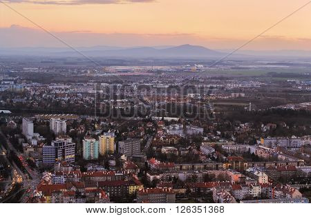Wroclaw and mountains after sunset. Poland Europe.