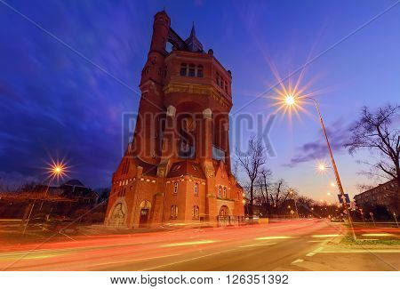 Water tower of Wroclaw Poland in the evening.
