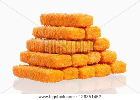 fried fish fingers isolated on white background