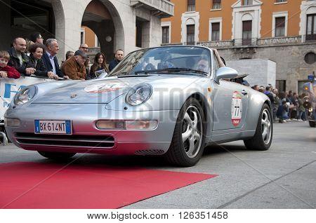 BRESCIA, ITALY - APRILE 17, 2016:500 Miglia. Finish. PORSCHE 964, 1992 built