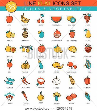 Vector Fruits and vegetables flat line icon set. Modern elegant style design  for web