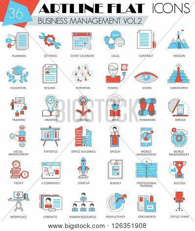 Vector Business management ultra modern outline artline flat line icons for web and apps