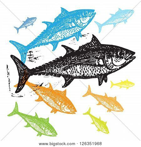Vector Tuna fishes in abstract composition. Linocut fishes in different colors on white background