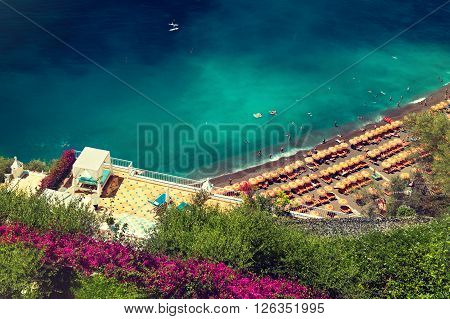 View of beach  of Positano, Amalfi Coast, Italy