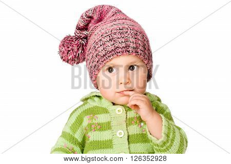 Pretty little child, isolated over white background