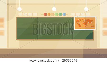 School Classroom Interior Board Map Flat Design Vector Illustration