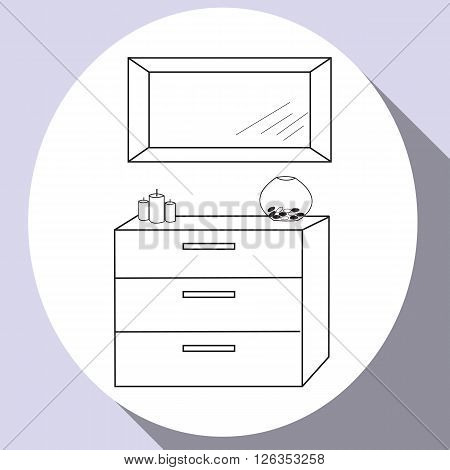 Living room and bedroom hand drawn flat line icon design with furniture - mirror and commode. Vector Illustration.