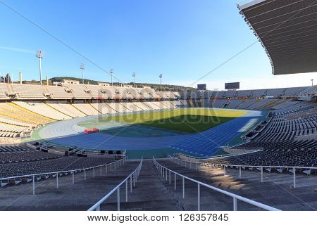 Barcelona, Spain - November 12, 2015: Olympic Stadium (Estadi Olimpic Lluis Companys) on mountain Montjuic. The stadium built in 1927 was renovated in 1989 to be the main stadium for the 1992 Summer Olympics.