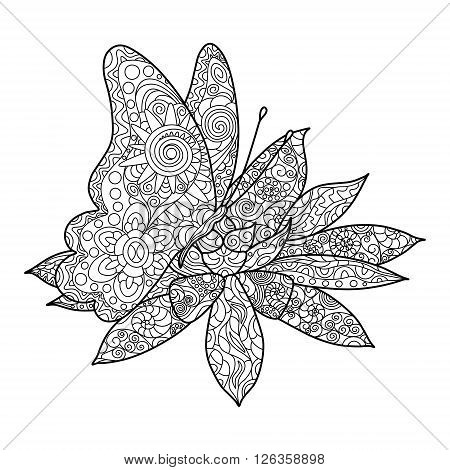 Butterfly with flower coloring book for adults vector illustration. Anti-stress coloring for adult. Zentangle style. Black and white lines. Lace pattern
