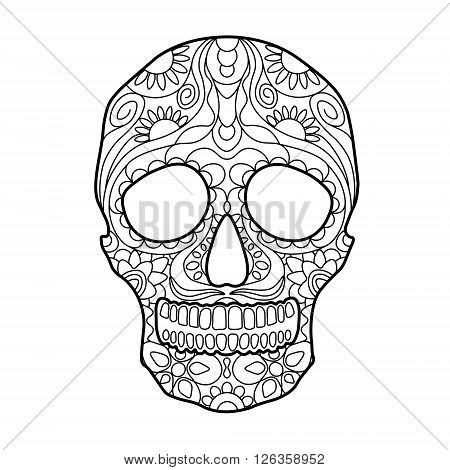 Hunan skull coloring book for adults vector illustration. Anti-stress coloring for adult. Zentangle style. Black and white lines. Lace pattern