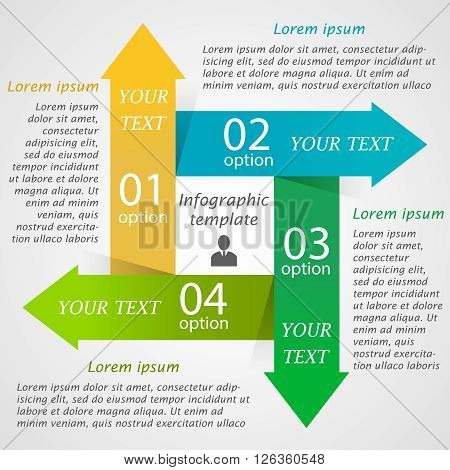 Modern infographic options template with 4 colorful arrows. Can be used for workflow layout,  business concept with 4 options, parts, steps or processes, banner, chart, web design