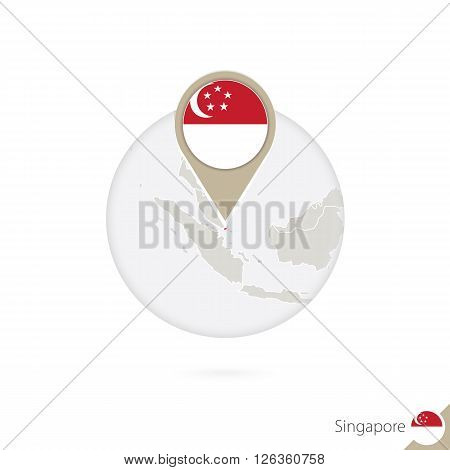 Singapore Map And Flag In Circle. Map Of Singapore, Singapore Flag Pin. Map Of Singapore In The Styl
