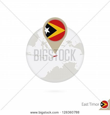 East Timor Map And Flag In Circle. Map Of East Timor, East Timor Flag Pin. Map Of East Timor In The