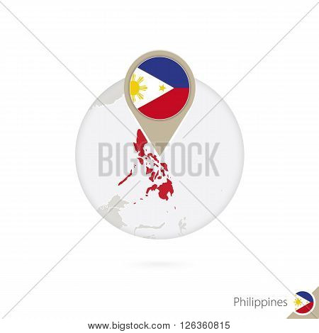 Philippines Map And Flag In Circle. Map Of Philippines, Philippines Flag Pin. Map Of Philippines In
