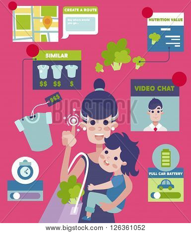 Augmented Reality Living device vector concept. Young mother parent woman character with baby boy toddler on shopping. Girl on video conference with notification and alarm design element