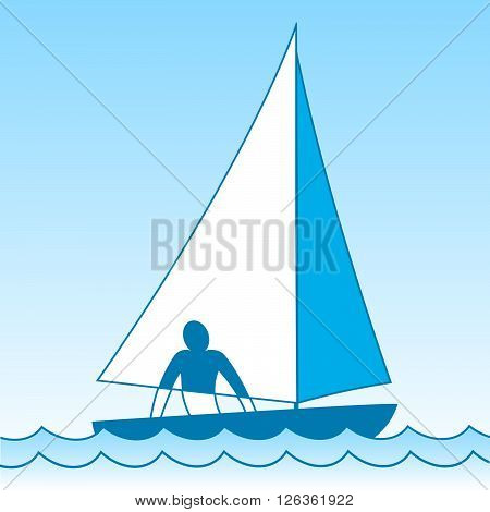 A small sailing boat. Sloop. The ship coming through the waves under the sail. The man on board.