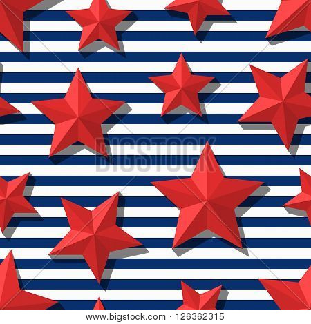 Vector seamless pattern with 3d stylized red stars and navy stripes. Summer marine striped background. Design for fashion textile print wrapping paper web background.