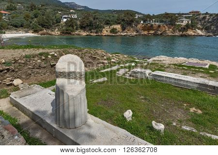 Ancient Column in Archaeological site of Aliki, Thassos island,  East Macedonia and Thrace, Greece