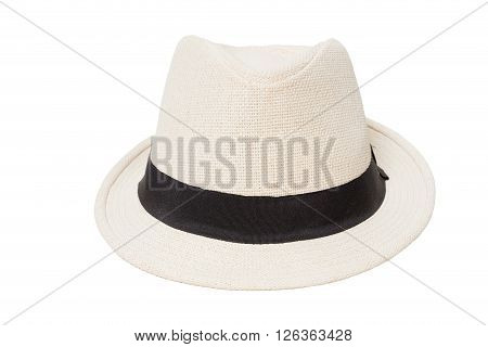 White panama hat isolated on white background