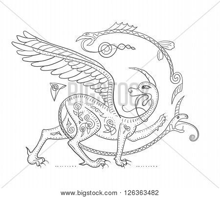 Griffin fantasy monster creature. Medieval style illustration circle decorative composition