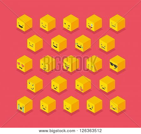 Isometric emoticons yellow cubes, square colorful icons