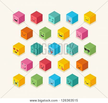 Isometric emoticons cube, square colorful icons