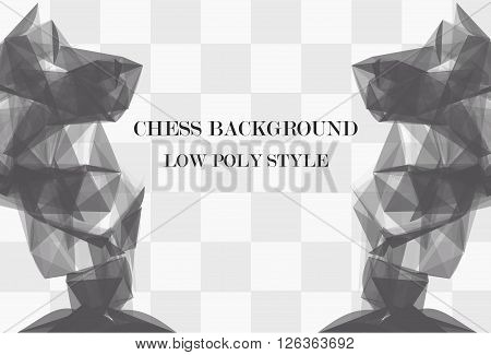 Low poly abstract chess background with 2 big knights. Polygonal vector background