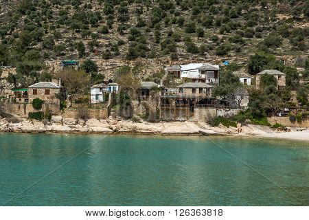 Old houses in village of Aliki,Thassos island,  East Macedonia and Thrace, Greece