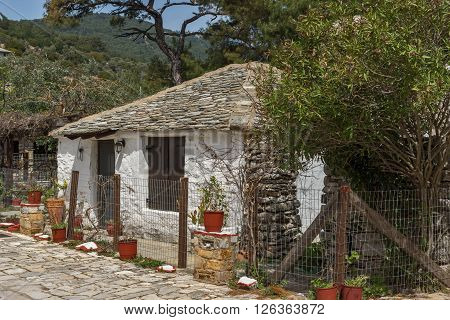 Old stone house in village of Aliki,Thassos island,  East Macedonia and Thrace, Greece