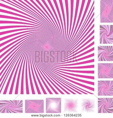 Magenta and white vector spiral design background set. Different color, gradient, screen, paper size versions.