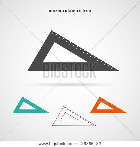 Vector Geometry Triangle Ruler Icon. Element for your geometry, architecture, student, education and other your projects, web and application icon over white.