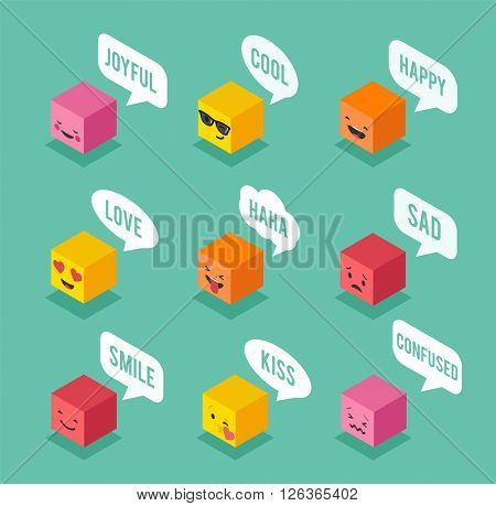 Isometric emoticons, emoji square colorful icons with communication speech bubbles
